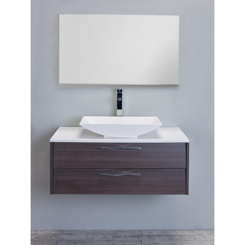 Eviva Zenvi Grey Oak 39-inch Modern Bathroom Vanity Set with ...