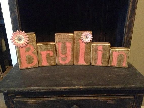 Rustic name blocks for a baby girl gift country chic design rustic name blocks for a baby girl gift negle Image collections