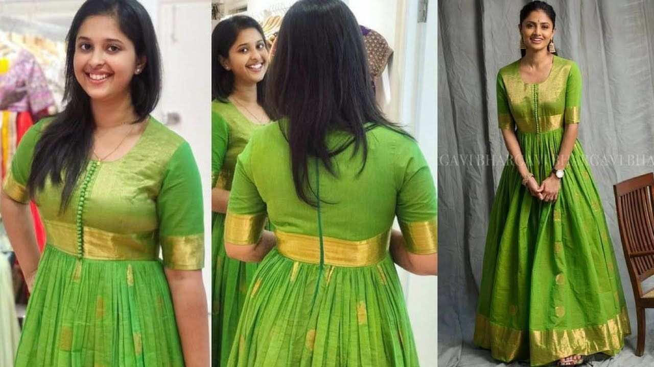 Convert Old Saree Into Long Gownkurtakurti Design Ideas Long