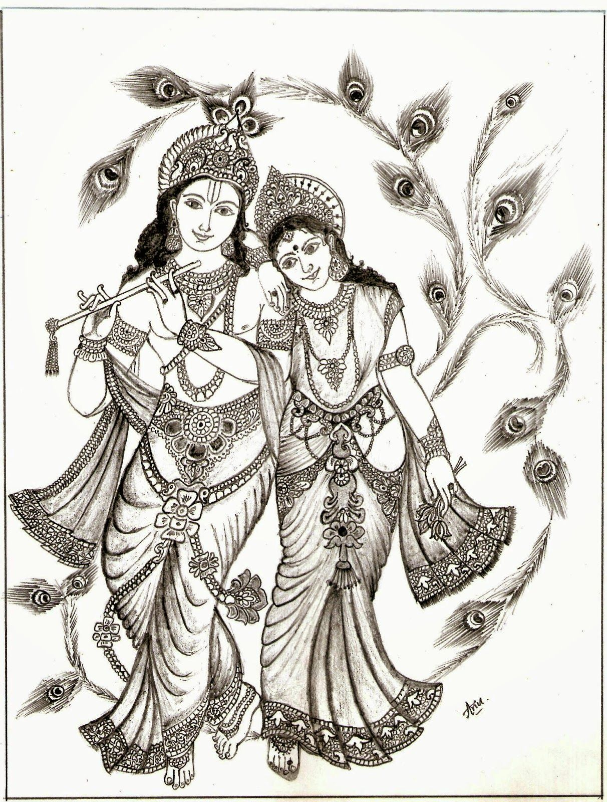 Radha Krishna Picture Drawing | Drawing Images | Krishna In 2018 | Pinterest | Drawings Krishna ...