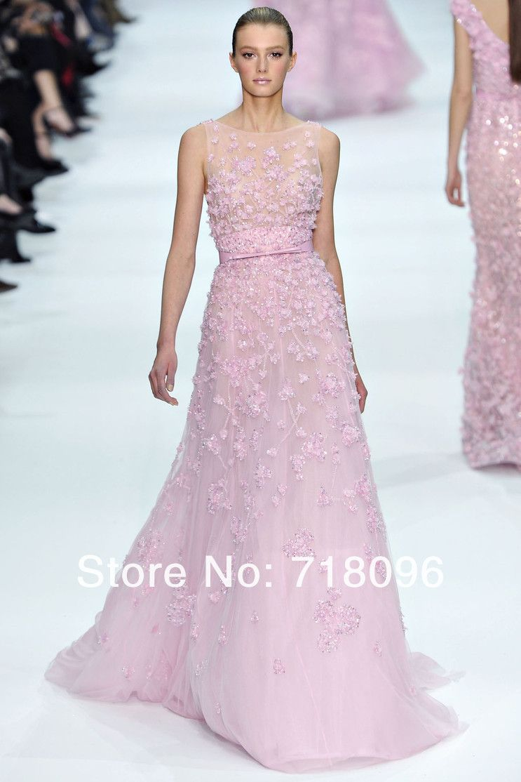 Elie Saab Haute Couture Pink Tulle Fashion Beadings Floor length Evening Prom Gown. Is this price real?