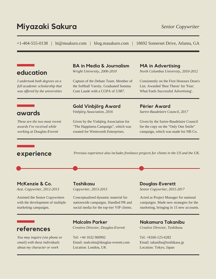 Copywriter Resume Resumecv Design On Behance  Resumecv Design  Pinterest