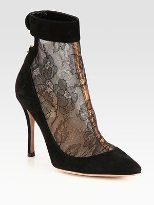 Valentino Lace and Suede Ankle Boots