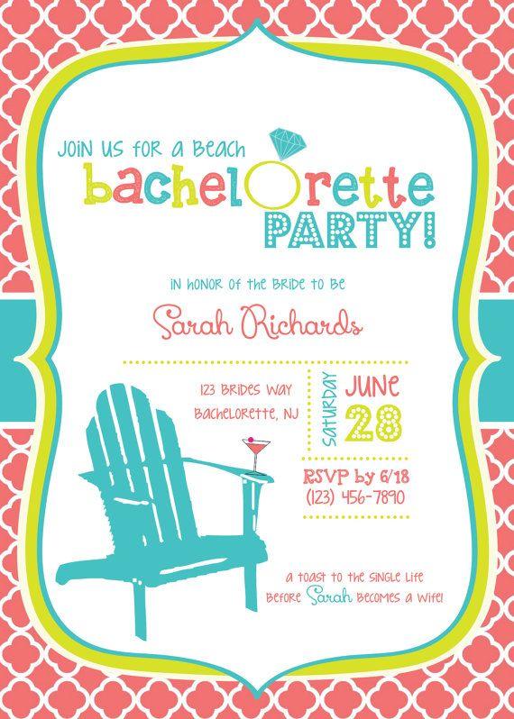 Custom Beach Themed Bachelorette Party Invitations By Wordstoart