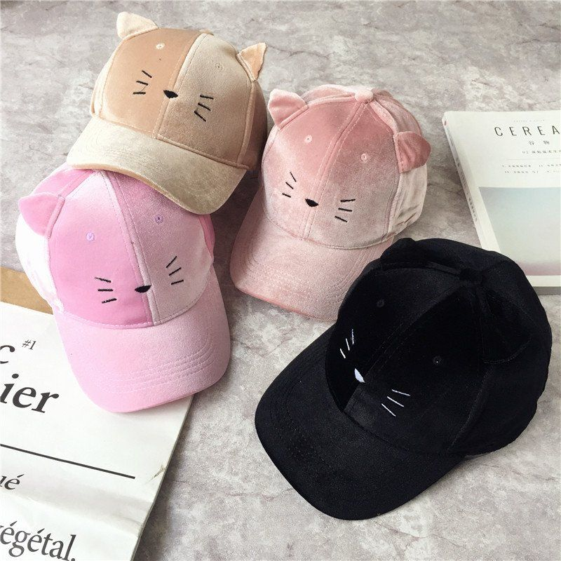 5 Colors Kawaii Neko cat Baseball Cap with pointy kitty ears.
