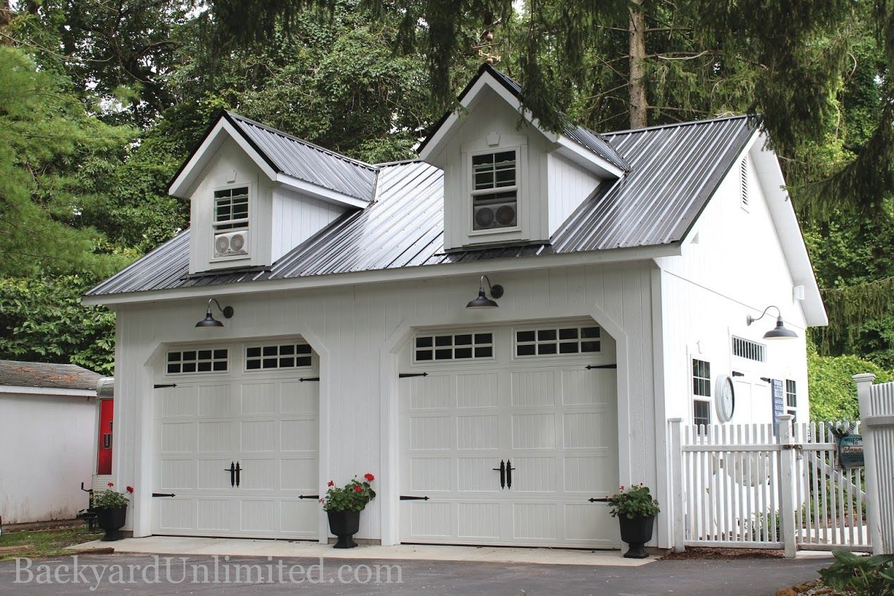 Feature porch and shed pinterest car garage san for Two story metal garage