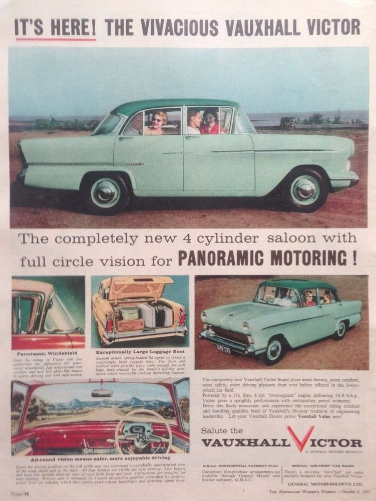 Vauxhall Victor Car Ad Retro Automobilia 1957 Original Vintage