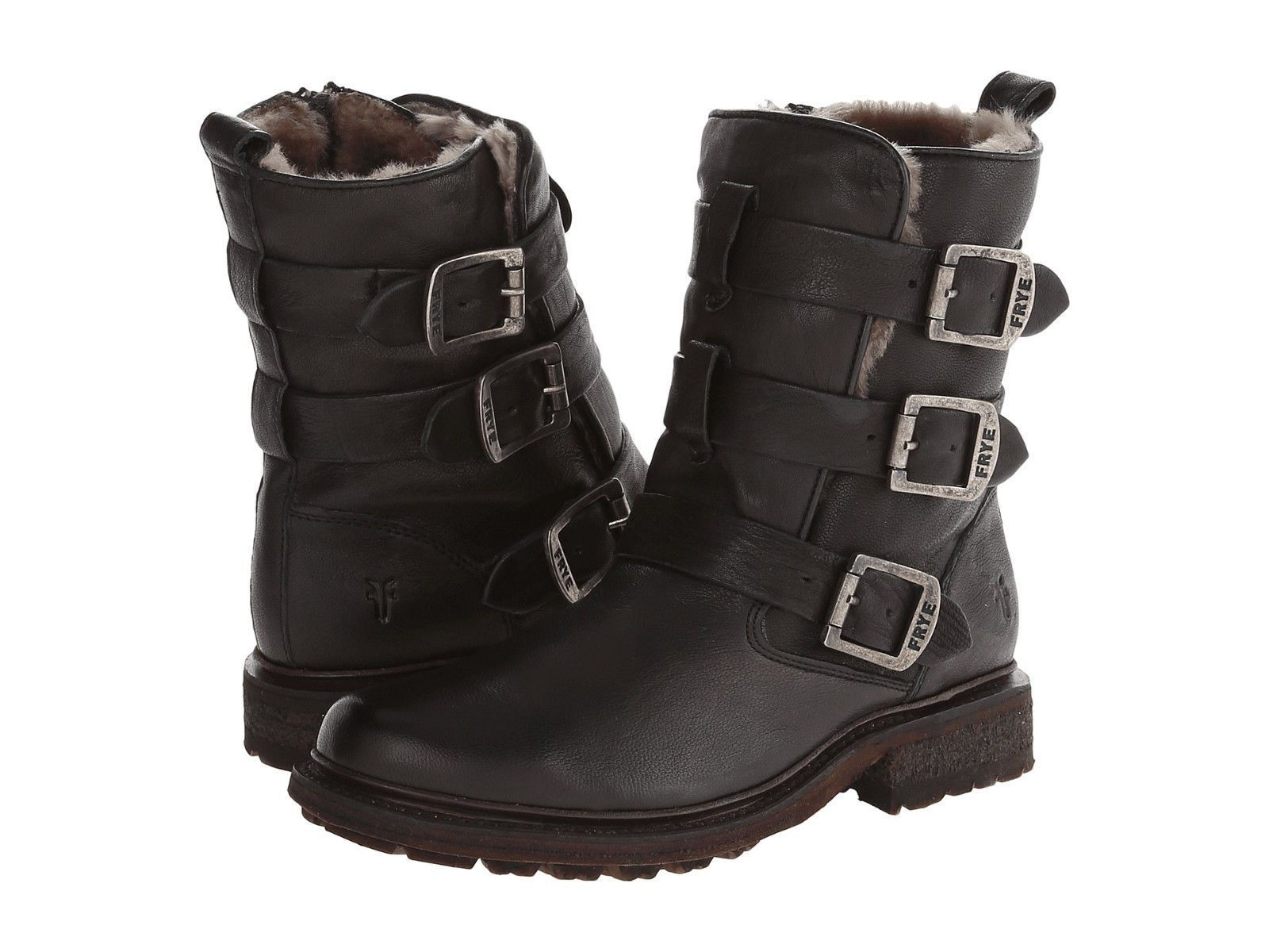 f2470fb0384 FRYE Womens Valerie Shearling Strappy Boots Black Vintage Leather ...