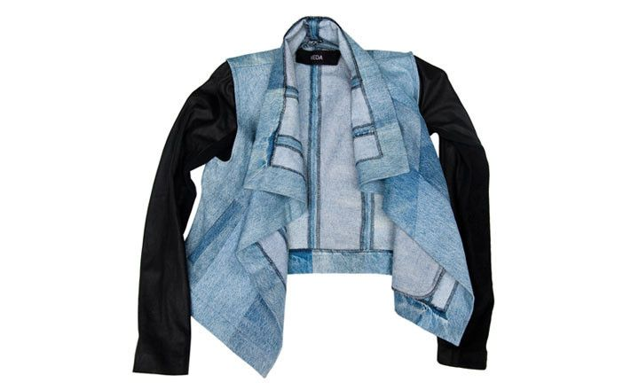 DENIM AND LEATHER MAX JACKET  BY VEDA