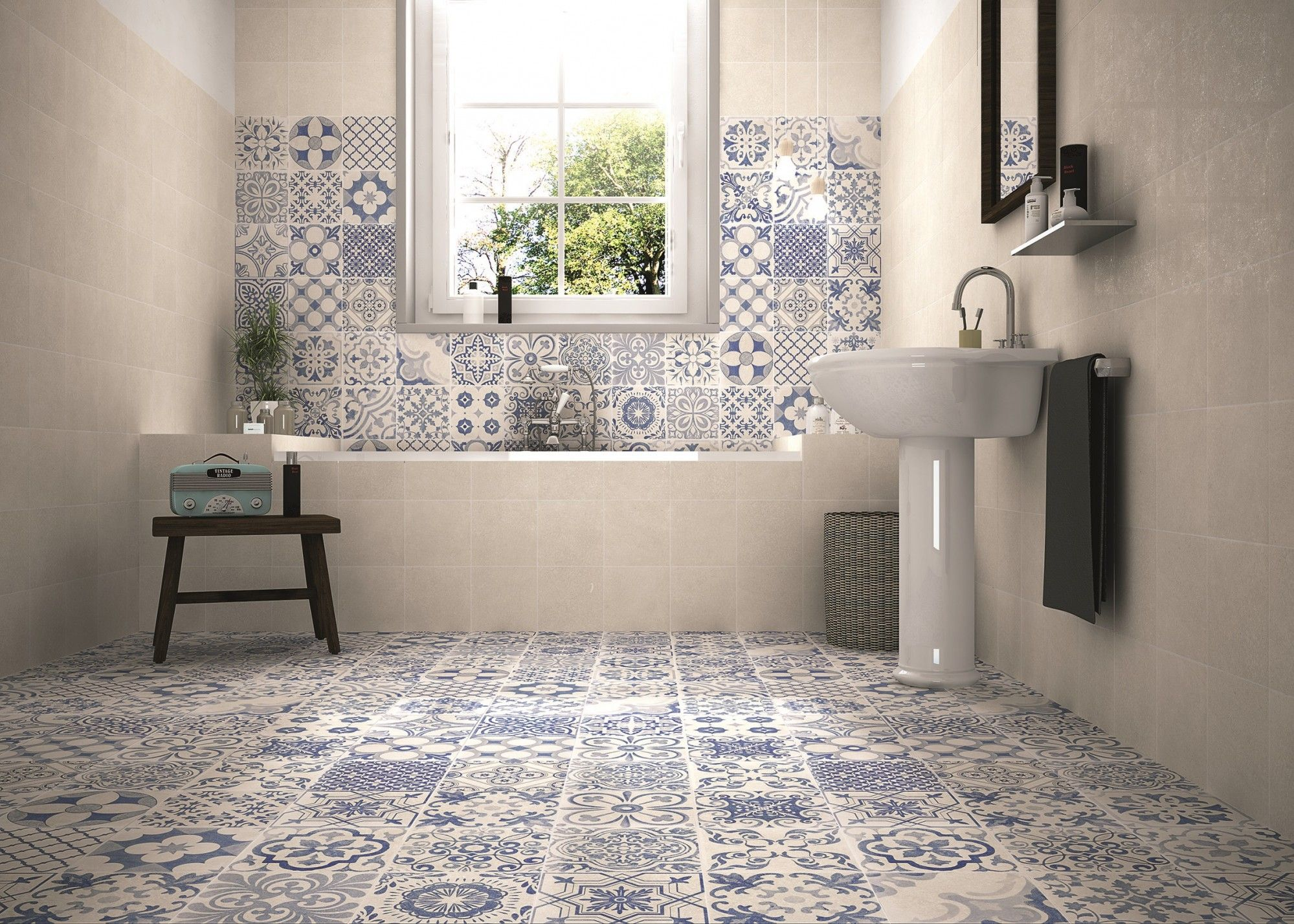 Charming Blue Patterned Bathroom Tiles Part - 4: Skyros Delft Blue Wall And Floor Tile