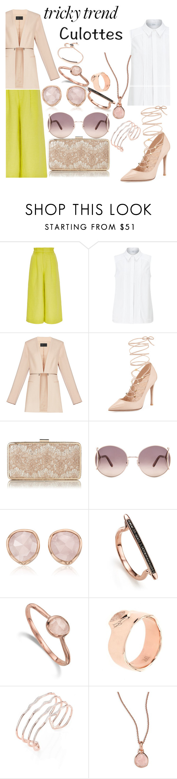 """""""TrIcKy TrEnDs"""" by janaboughanem ❤ liked on Polyvore featuring Apiece Apart, John Lewis, BCBGMAXAZRIA, Valentino, L.K.Bennett, Chloé, Monica Vinader, TrickyTrend and culottes"""