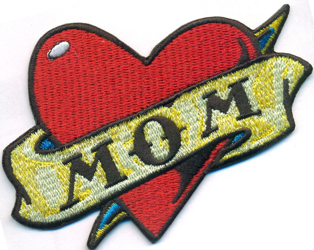 Motorcycle with biker tattoo - Mom Heart Tattoo Rockabilly Vintage Motorcycle Biker Iron On Patch Badge