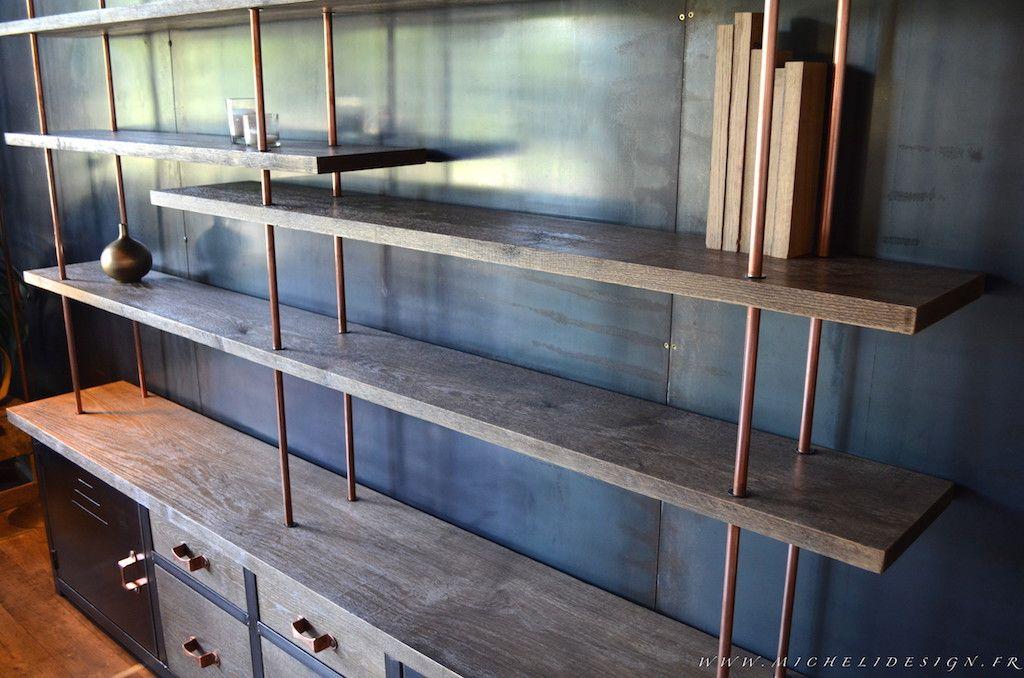 biblioth que contemporaine sur mesure bois m tal micheli design cuivre pinterest bois. Black Bedroom Furniture Sets. Home Design Ideas