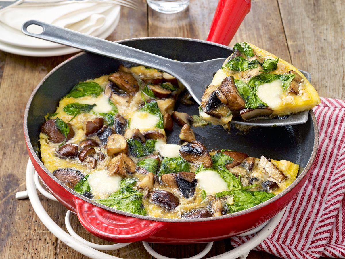Spinat-Pilz-Omelett Rezept | Pilz-omelett, Spinat und Pilze