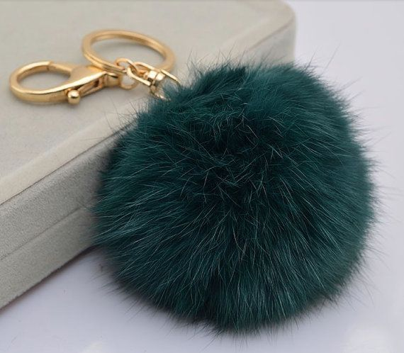 411d9ea5acec Cute Genuine Leather Rabbit fur ball plush pom pom keychain for car key  ring Bag Pendant BLUE GREEN