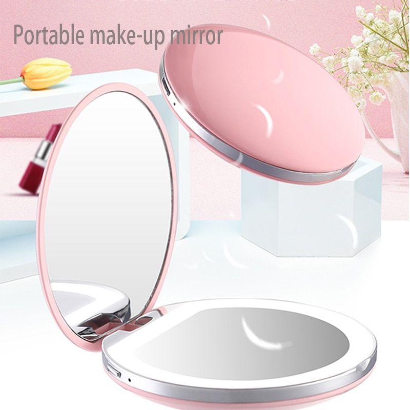 Portable Pocket Makeup Mirror With Led Light Foldable Vanity Light