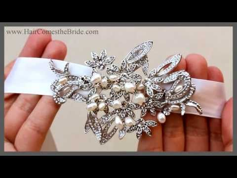Vintage Rhinestone and Pearl Ribbon Headband ~ Andrea - This stunning ribbon headband features an elegant design of rhinestones and pearls on a white or ivory ribbon.  This style is also available as a hair comb.  Perfect for the bohemian wedding or an romantic bridal look.