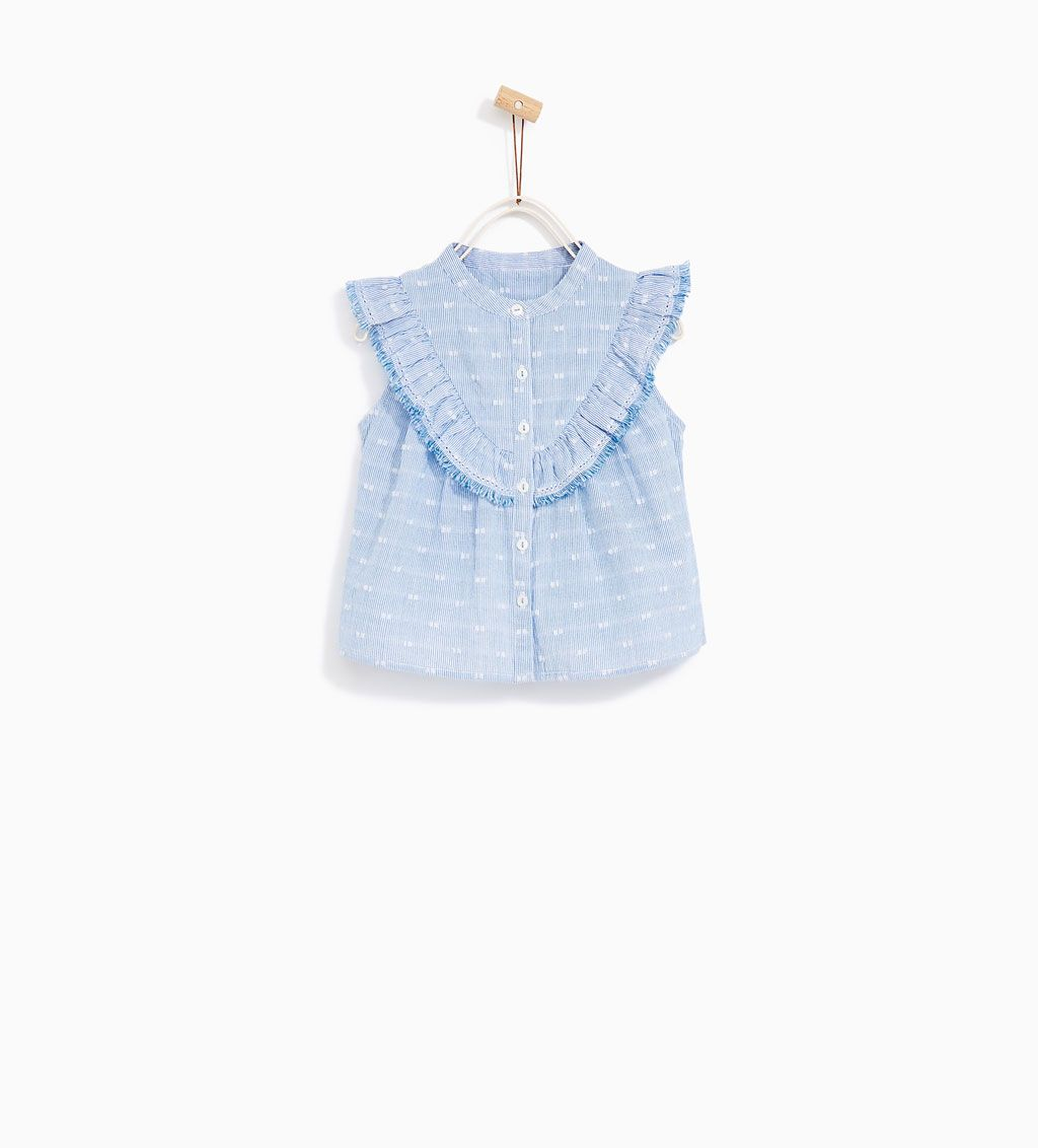 Striped Shirt With Frills New In Baby Girl 3 Months 4 Years Kids Zara United States Girl Closet Zara Kids Outfits Kids Fashion Kids Clothes Sale