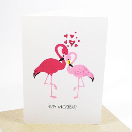 2 Flamingos-Handmade Card, Anniversary Card, Red, Pink Flamingos - print anniversary card