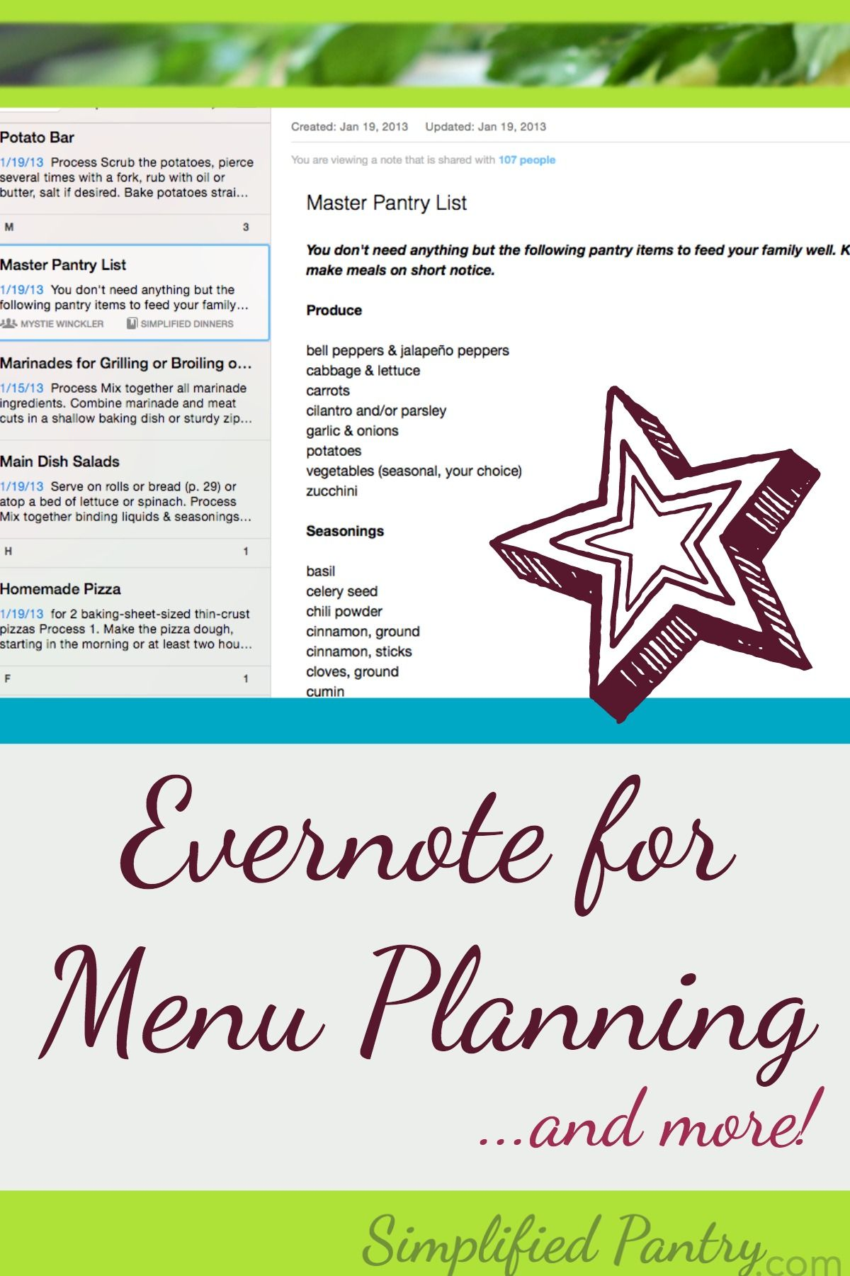 Menu Planning Is A Pain But Evernote Can Make It Simpler And