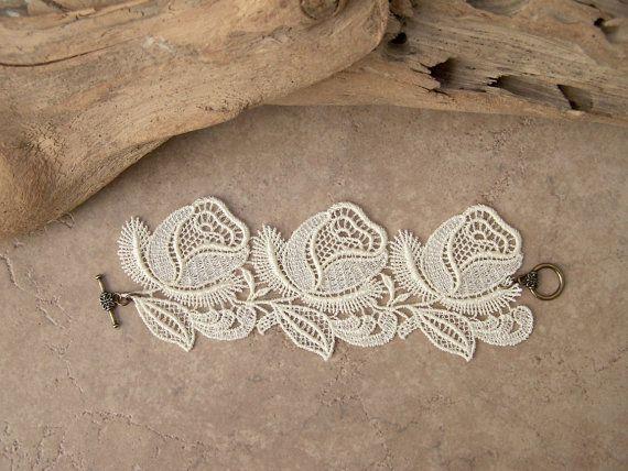 roses lace bracelet by StitchFromTheHeart on etsy.