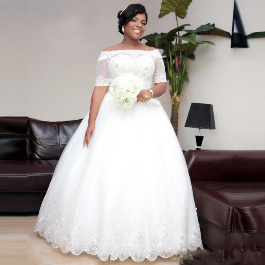 Find a Shinning Boat Neck Ball Gown Plus Size Wedding Dresses With ...