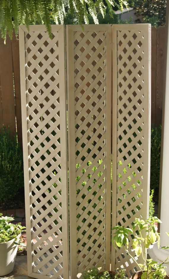 Vintage Wooden Folding Lattice Screen Room Divider Chalk Paint Distressed