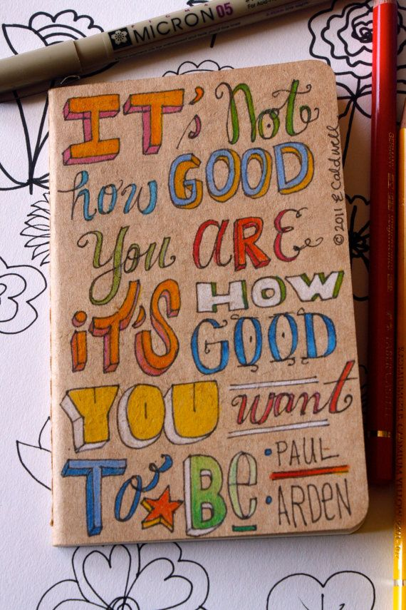 290e5c9397d44 OOAK Kraft Moleskine Pocket Cahier with Hand Drawn Type and Quote by Paul  Arden