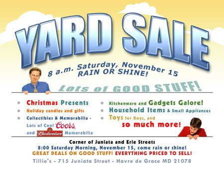 Yard Sale Flyer Template  Dorm Room Stuff    Sale