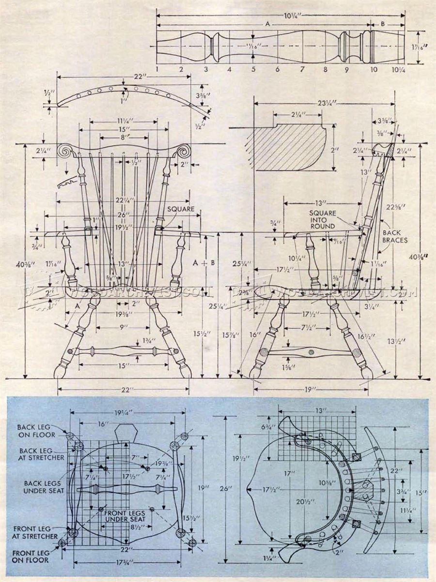 2925 classiс windsor chair plans - furniture plans | chairs and