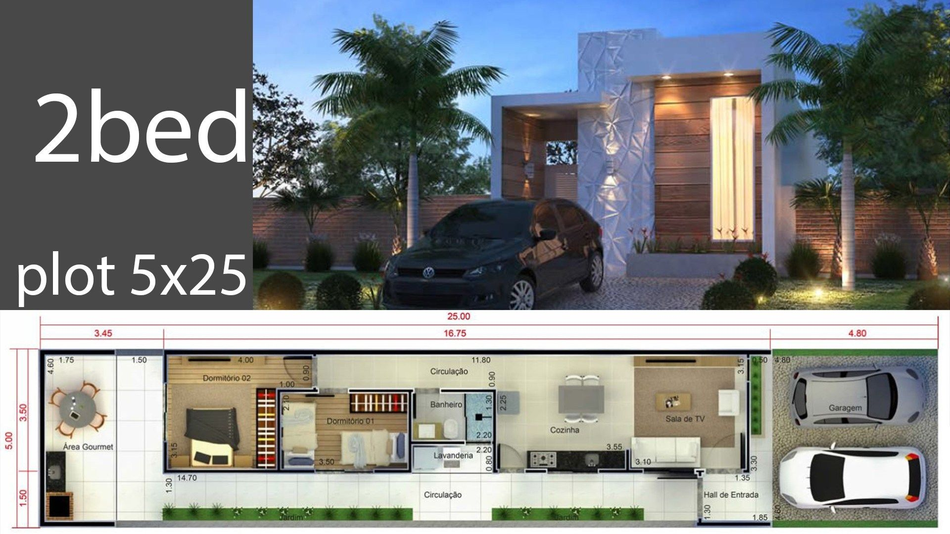 Home Design 5x25 Meters Home Design With Plan House Design Modern House Design Home Design Plans