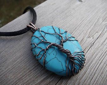 turquoise tree of life necklace blue pendant wire wrap copper ...