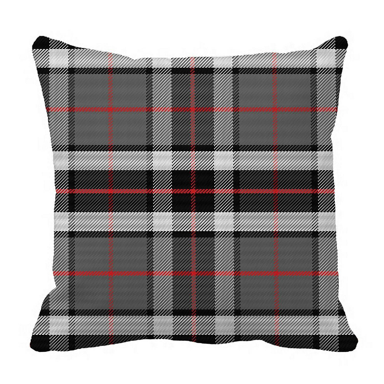 ECZJNT Scottish tartan Tompson black gray white Pillow Case Pillow Cover Cushion Cover 20x20 Inch