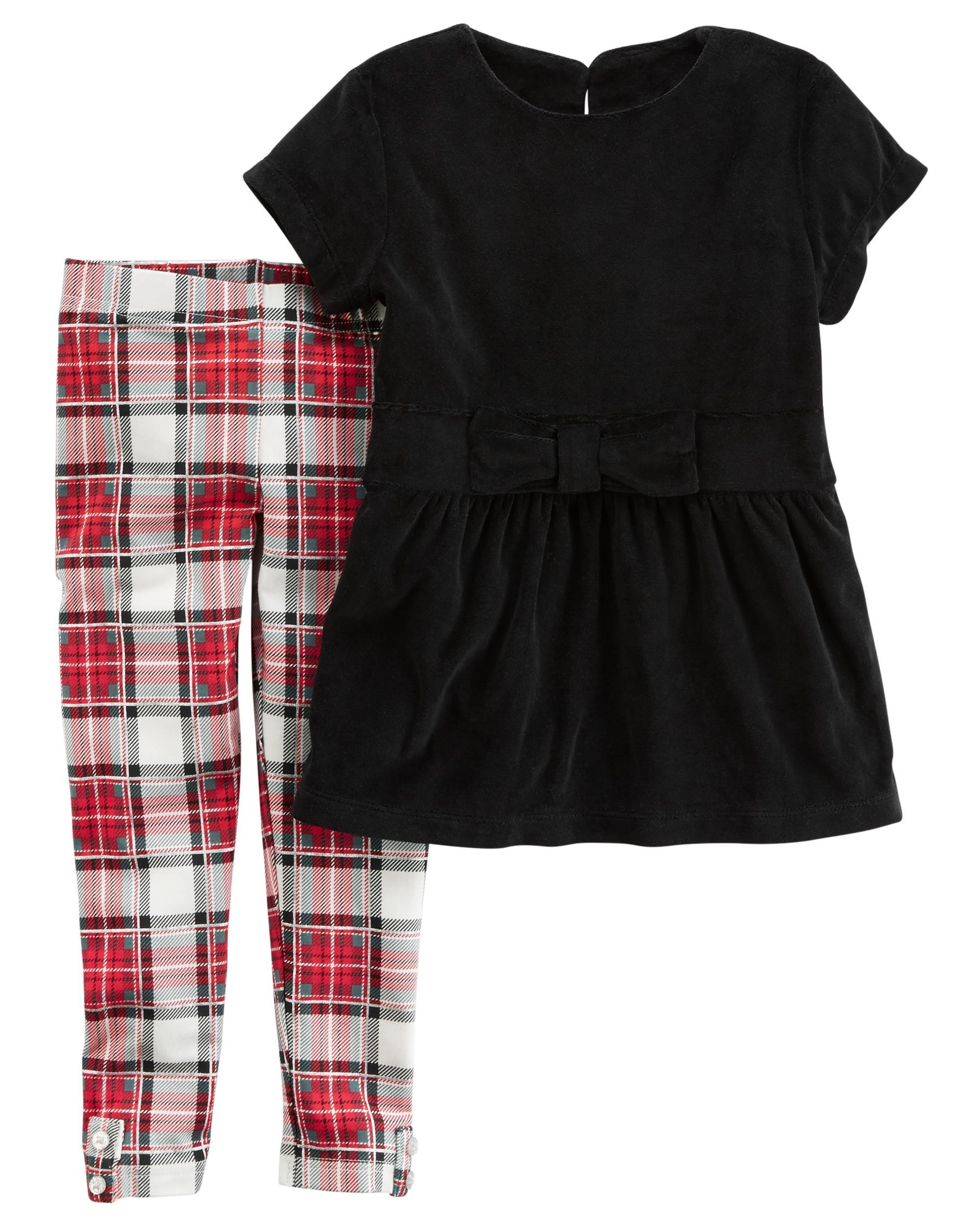 0d6d9412ce Featuring a velour top with a sweet bow detail and plaid stretch leggings,  this cute and cozy combo is a great holiday outfit!