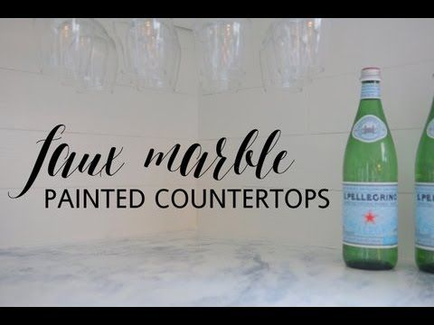 Faux Marble Painted Countertops #marblepainting
