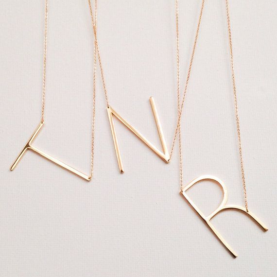 listing is for one delicate gold chain necklace featuring a letter of your choice  please select the letter // letter measures approximately 1x1.5