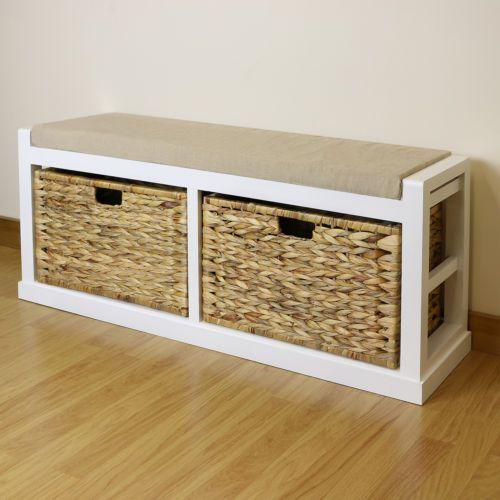 White Twin Seat Hallway Home Shoe Storage Bench Foam Amp Wicker Cushion 2  Baskets