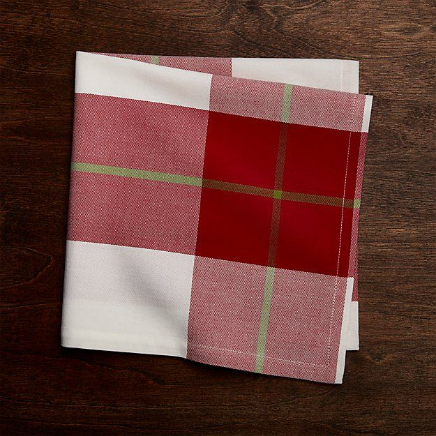 Holiday Plaid Napkin | Crate and Barrel - 48 of these