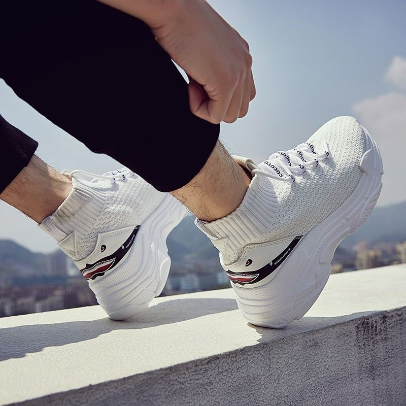 c61a5d8a8442 High Top Men Unisex Knit Sneakers 5 CM Thick Sole Sock Shoes Knit ...