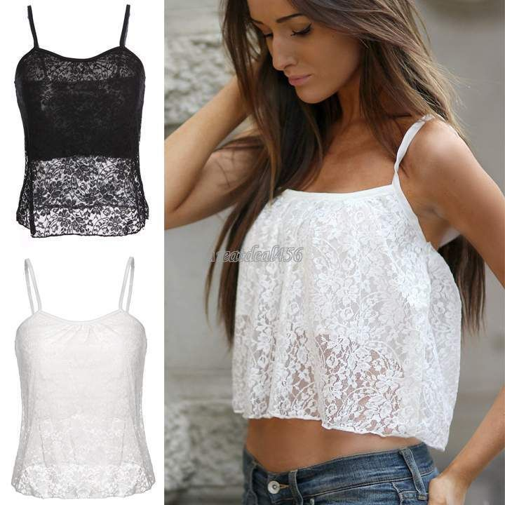 Women Sexy Lace Floral Strappy Bralet Bra Bralette Bustier Crop Tops Cami Tank #BrandNew #Sexy #Casual