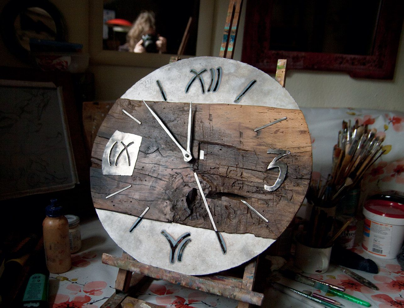 Big wall clock wood and metal industrial clock oak wrought iron big wall clock wood and metal industrial clock oak wrought iron clock housewarming gift anniversary gift amipublicfo Image collections