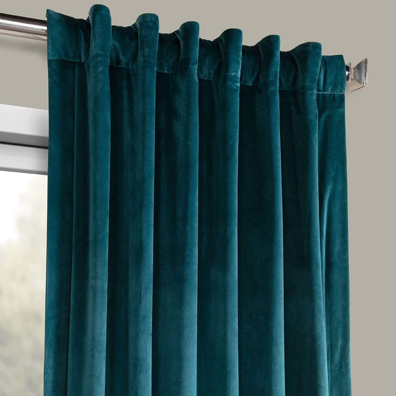 Deep Sea Teal Heritage Plush Velvet Curtain Guest Bedroom Design