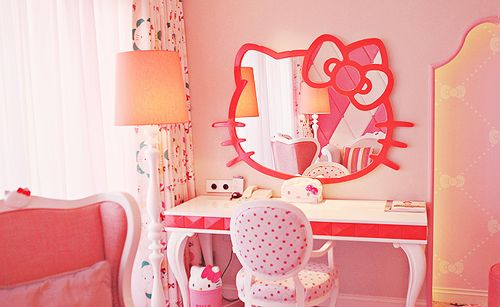 Kids Room Hello Kitty Bedroom For Girl With Large Mirror Plus Pink Polcadot Armchair And Classic Style Desk Cream Floor Lamp Shades Design