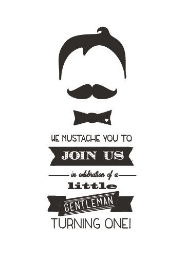Mustache Birthday Printable Invitation