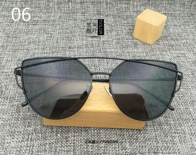 7d06d08849 New Cat Eye Aviator Sunglasses Women Vintage Fashion Metal Frame Mirror Sun  Glasses Unique Flat Ladies Sunglasses