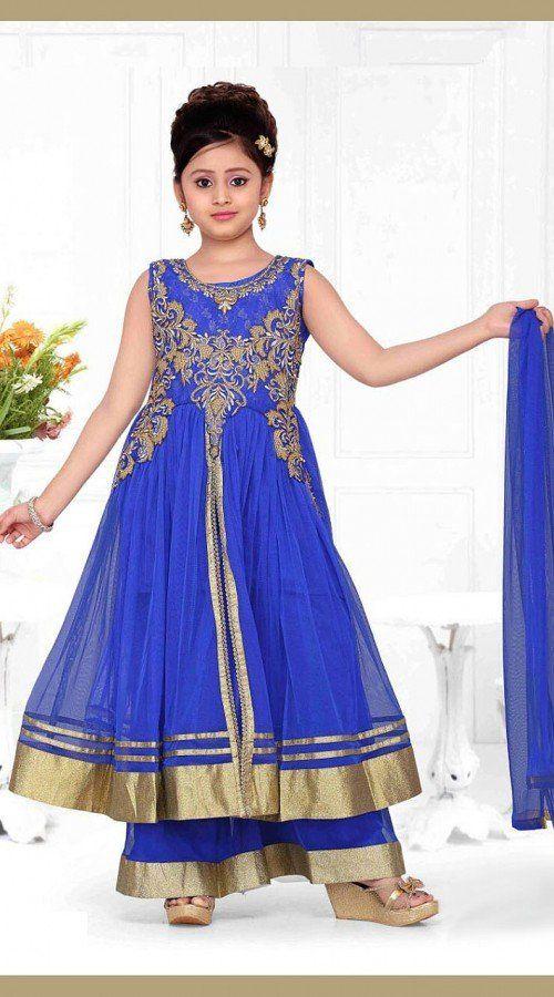 Ihram Kids For Sale Dubai: Astonishing Blue Kids Girl Palazzo Pant Suit DT53844 In