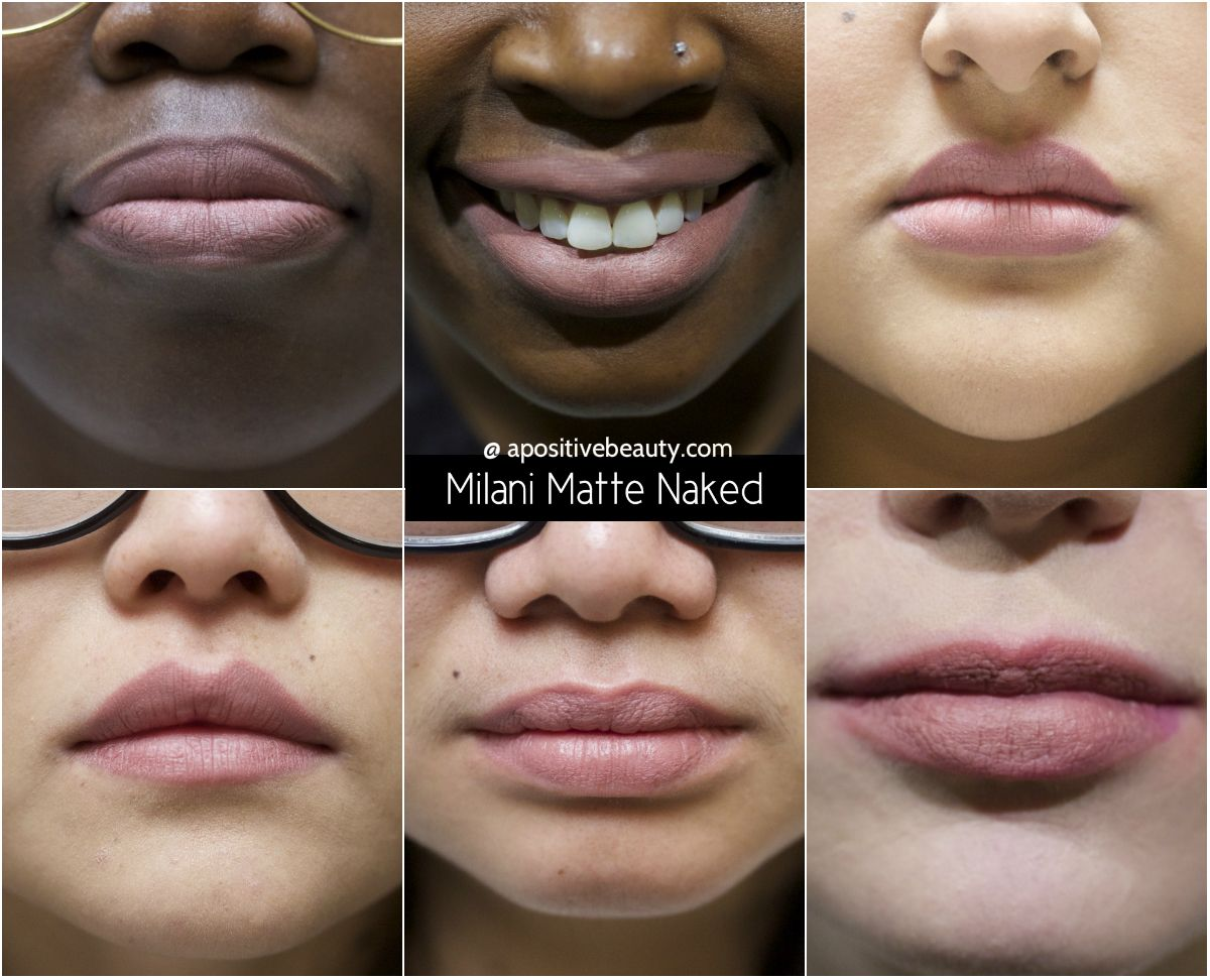 A Positive Beauty: Milani Moisture Matte Naked Swatch on different skin tones. A full review of Milani's 2015 Moisture Matte Lipsticks only on apositivebeauty.com!  Left to right: Glam, Confident, Passion, Orchid, Diva, Naked, Innocent #lipsticks #Milani #beautyreviews #makeup