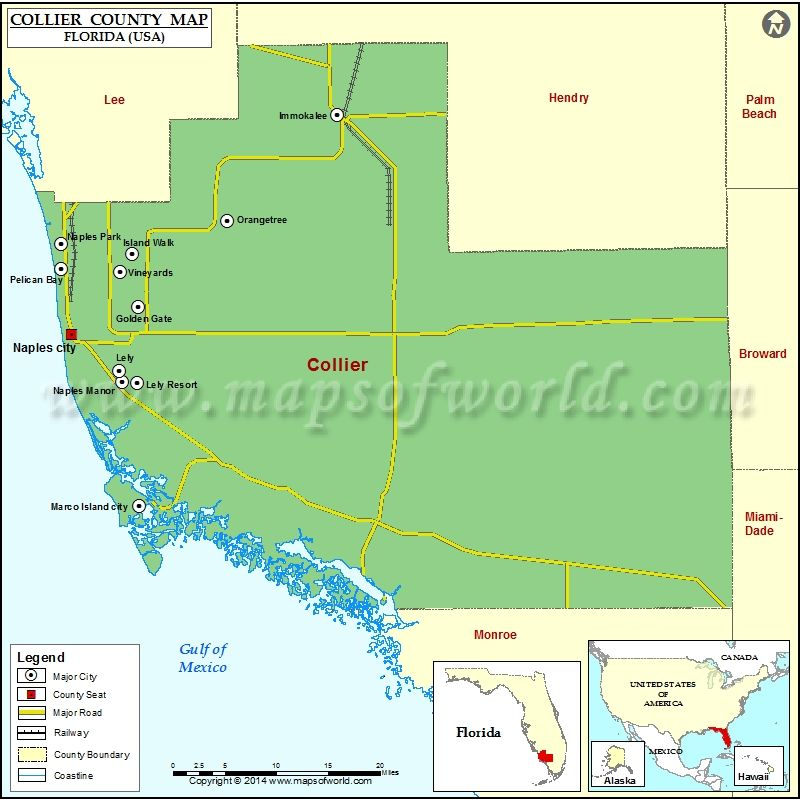 Map Of Collier County Florida Collier County Map, Florida | County map, County seat, County