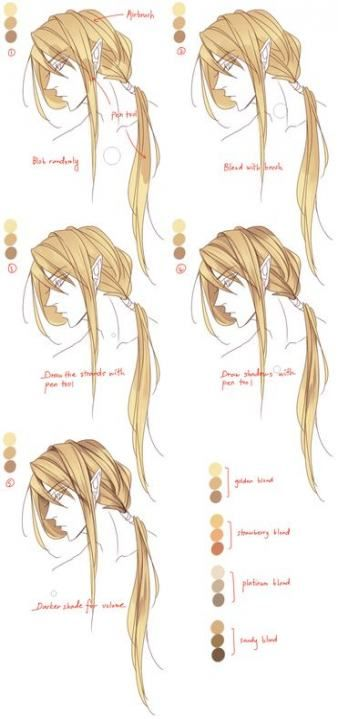 39 Ideas For Hair Drawing Color Design Reference