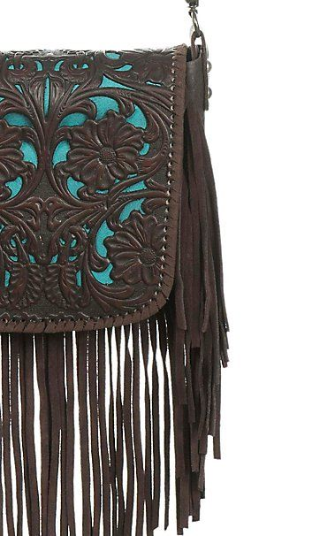 84de8f886a1c Montana West Coffee Floral Embossed with Turquoise Inlay and Fringe  Crossbody Western Purse